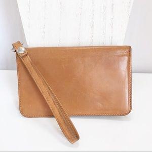 Hobo Ally Tan Leather Wristlet Wallet
